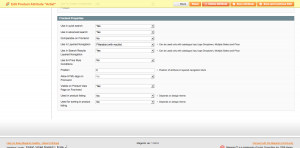 image of the Magento products attributes management page